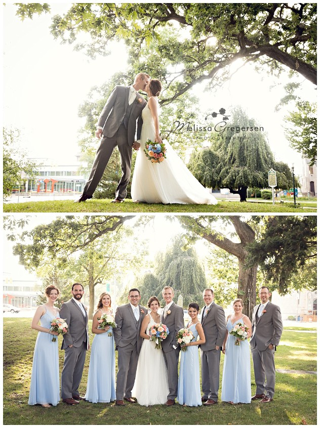 The baby blues in the bridesmaids dress and in the flowers really make this park photo look magical!
