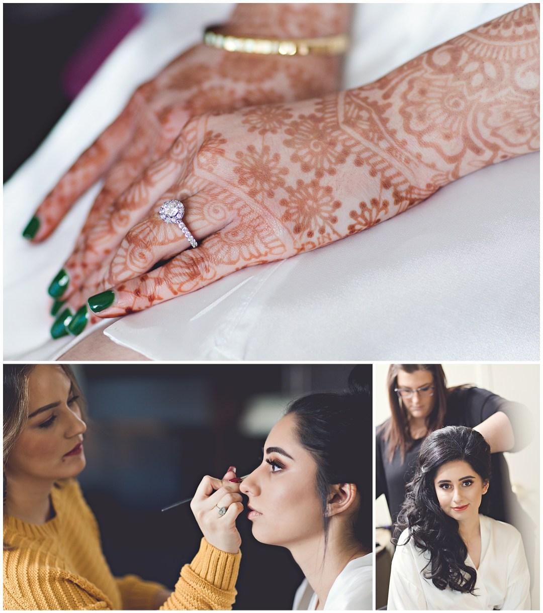 henna art on bride's hand