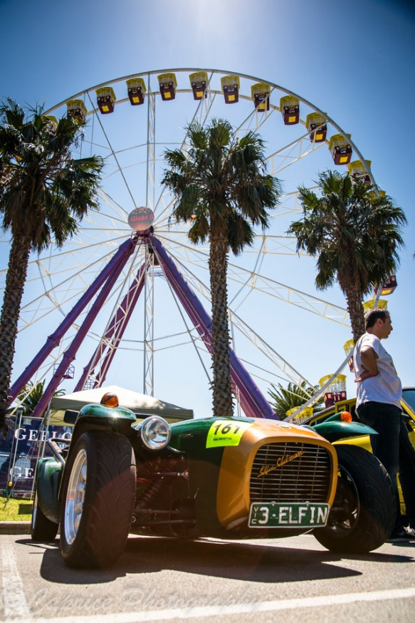 classic race cars, ferris wheels, palm trees