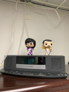 Prince and Freddie atop the Bose Wave Radio