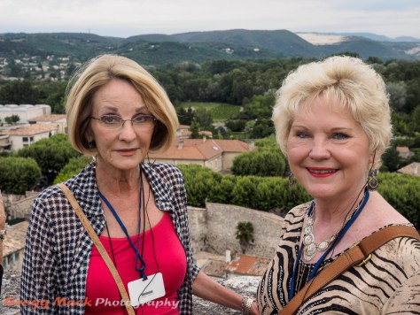 Jana and Barb at scenic overlook in Viviers.