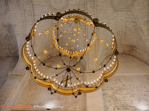 Chandellier inside Medieval church in Viviers.