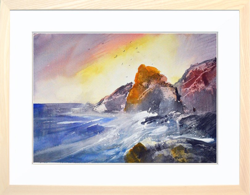 Framed Painting Ocean Sunset I