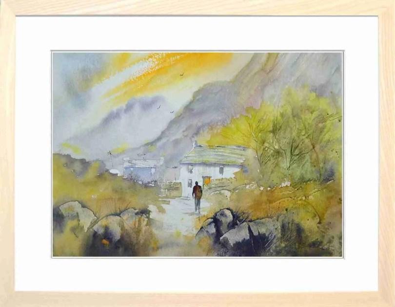 Framed Painting Sundown At Hilltop IV