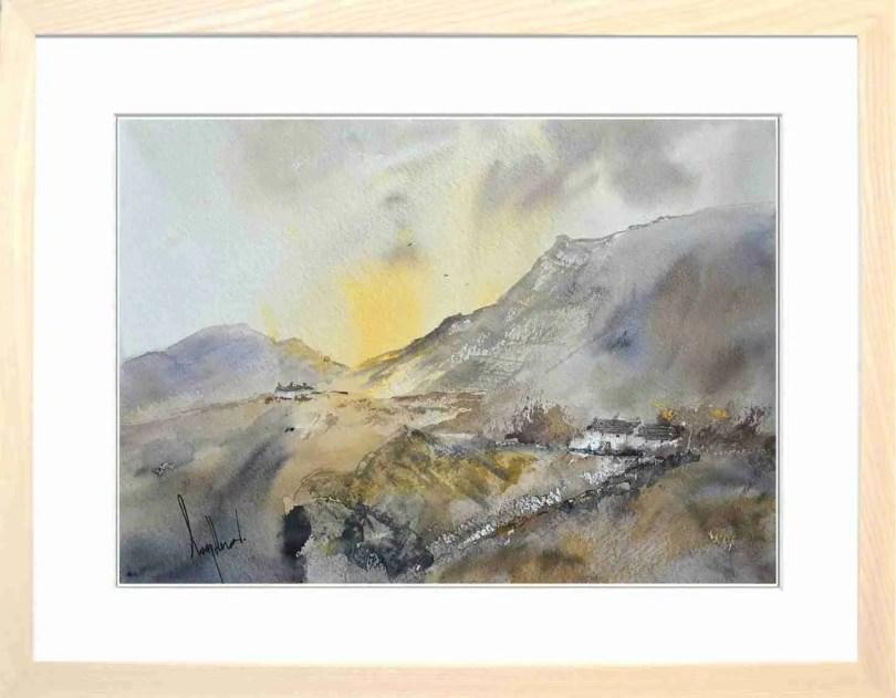 Framed Painting Sundown On The Tops