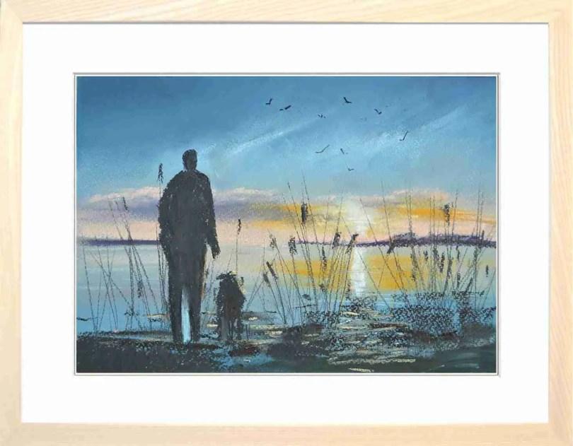 Framed Painting Sunset On The Estuary