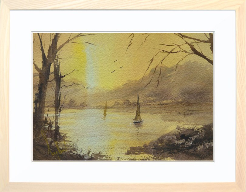Framed Painting Sunset Sails