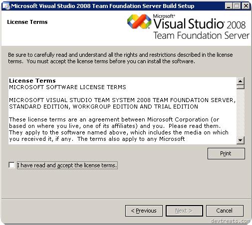 TFS Install Wizard EULA