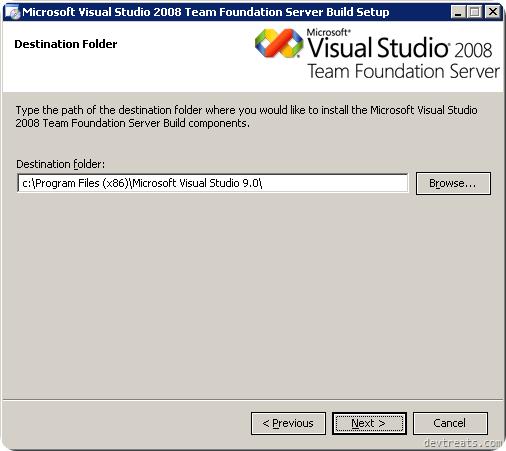 TFS Install Wizard Destination Folder