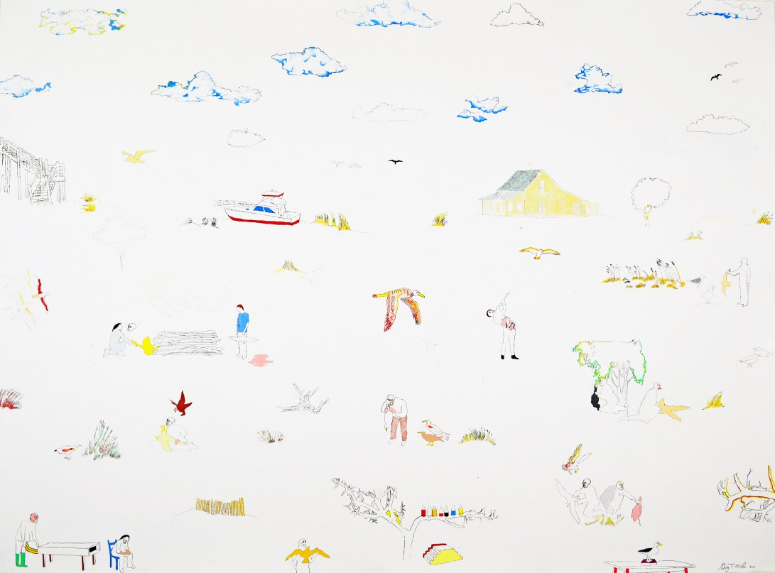 "Acrylic, Pencil, Pastel on Paper. 50"" x 37"" 2013."