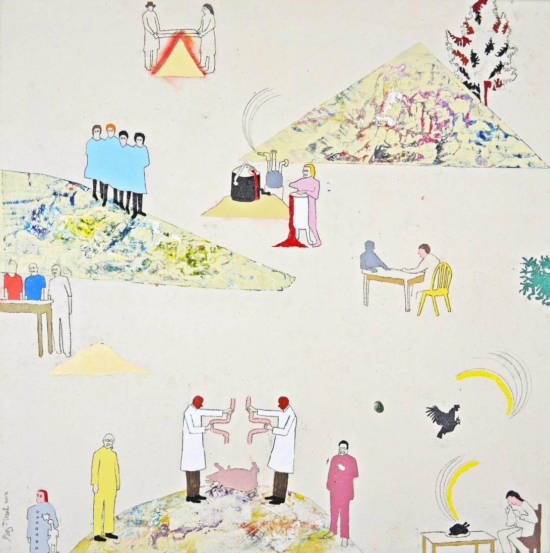 "Oil, Acrylic, Pencil, Oil Pastel on Canvas. 25"" x 25"" 2012."