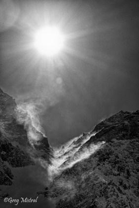 Du vent sur le superbe couloir nord de roche Faurio