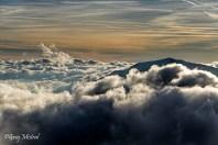 Mer de nuage au dessus du massif des aiguilles rouges pour bien finir la journée.