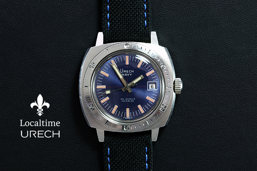 URECH (Swiss) 'Navy' 20ATM Vintage Diving Steel Watch Automatic ETA Cal. 2782 With Date