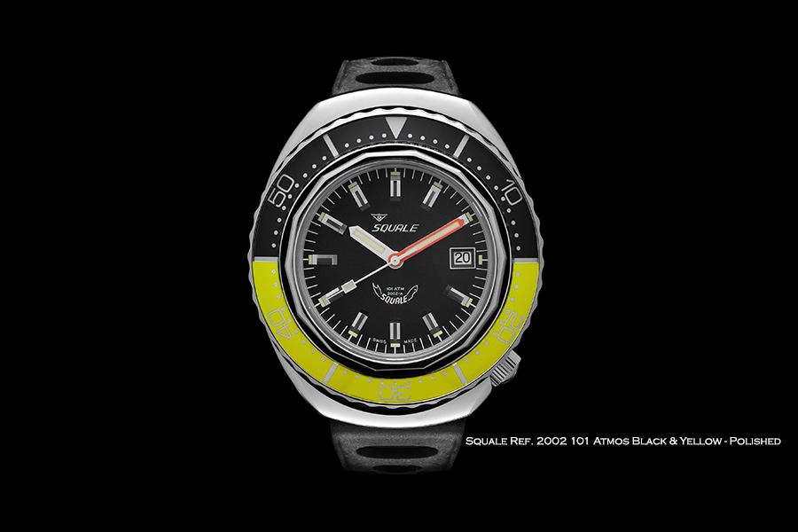 BNIB SQUALE (Swiss) Ref. 2002 Black & Yellow Polished 101ATM Diving Watch – ETA Cal. 2824-2