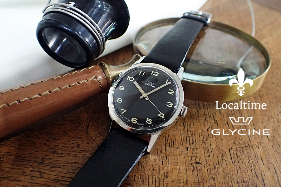 NOS 1950's GLYCINE Swiss Manual Wind Military Style AS Cal. 1502 – Original Strap & Buckle