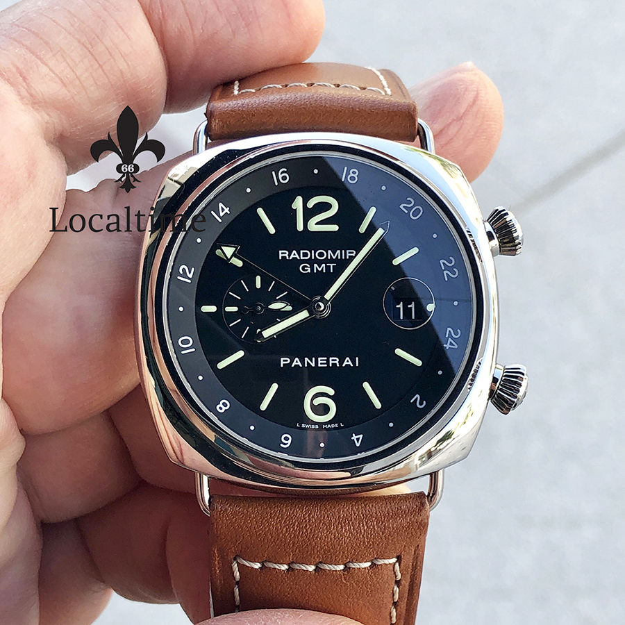 Panerai PAM00242 PAM 242 Radiomir GMT Steel On Strap With Black Dial- Limited to 300 pcs