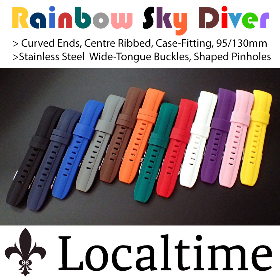 Rainbow Sky Diver Centre Ribbed Curved Ends Silicone Watch Strap 12 Colours 22mm