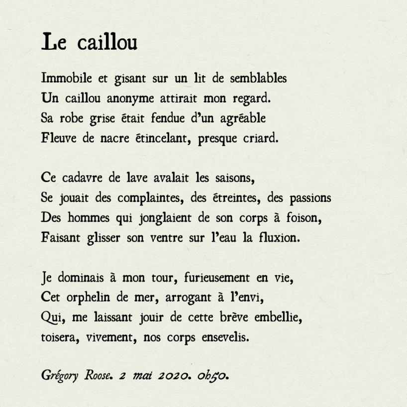 caillou-poeme-poesie-temps-qui-passe-futilité-brievete-de-la-vie-immortalite-pierre-roche-gregory-roose-baudelaire-maupassant