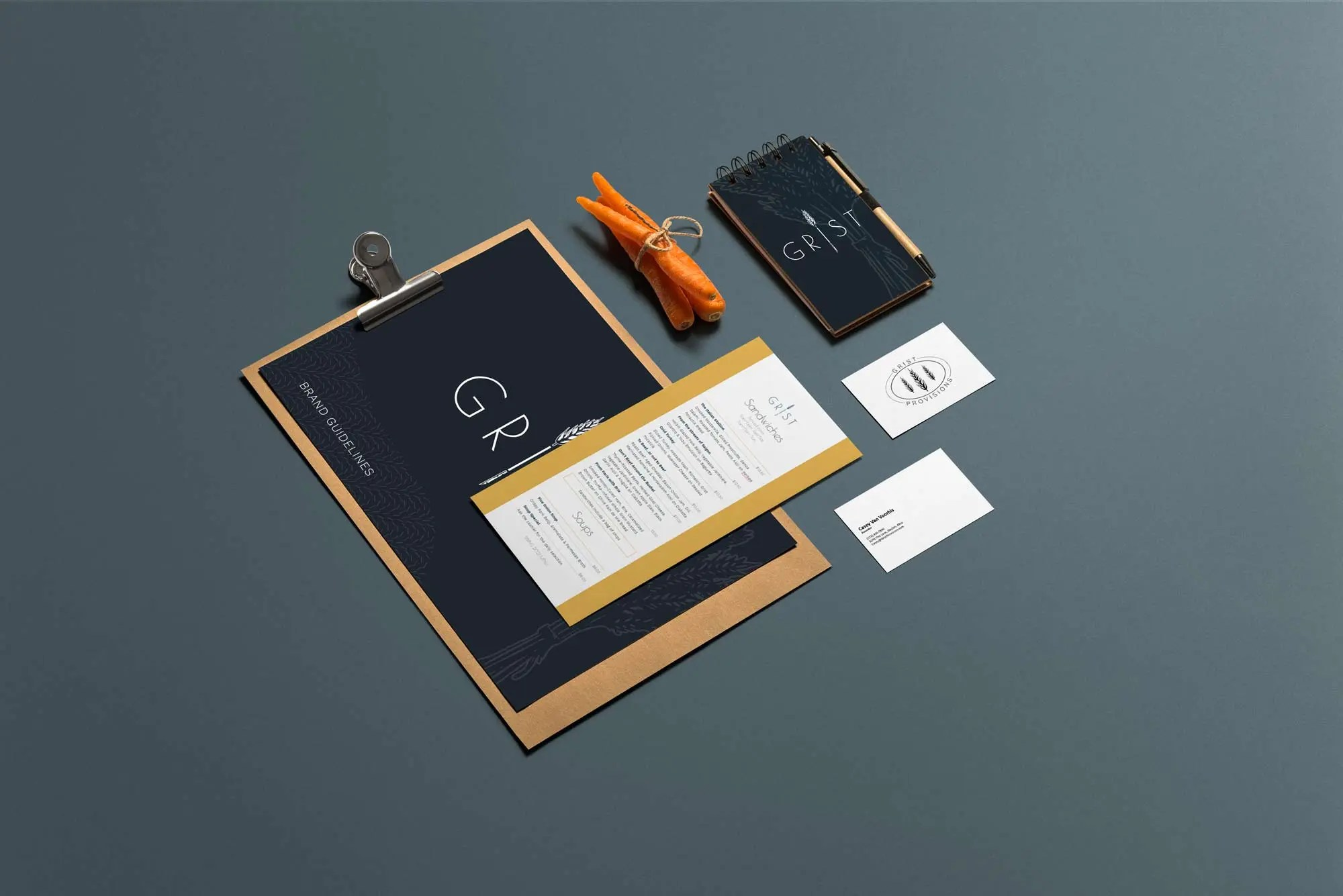 mock ups showing how the brand is implemented
