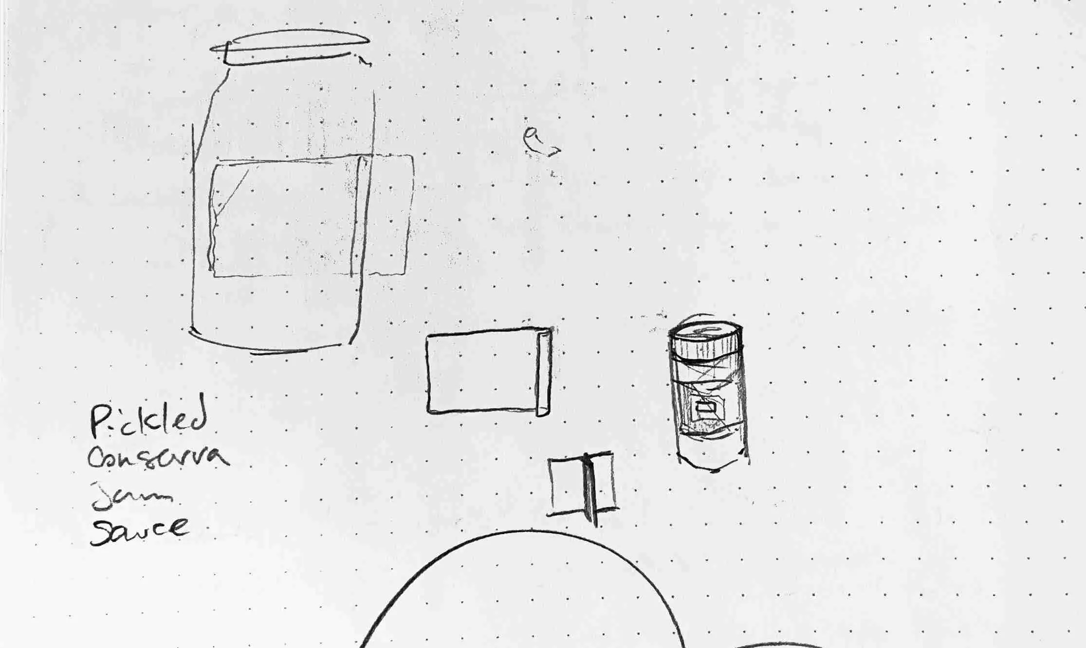 sketches of labeled jars