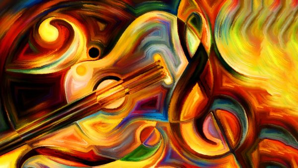 Abstract painting on the subject of music and rhythm