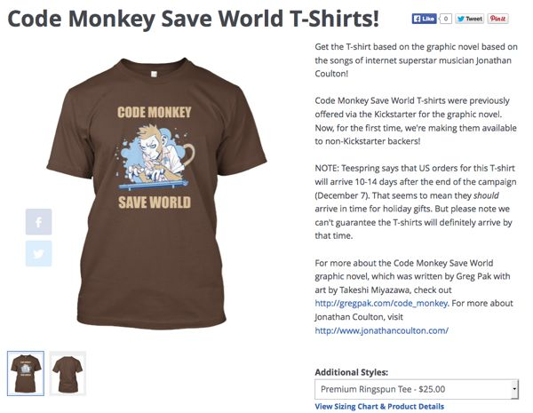 Get your Code Monkey Save World T-shirts at Teespring.com/codemonkeysaveworld today!