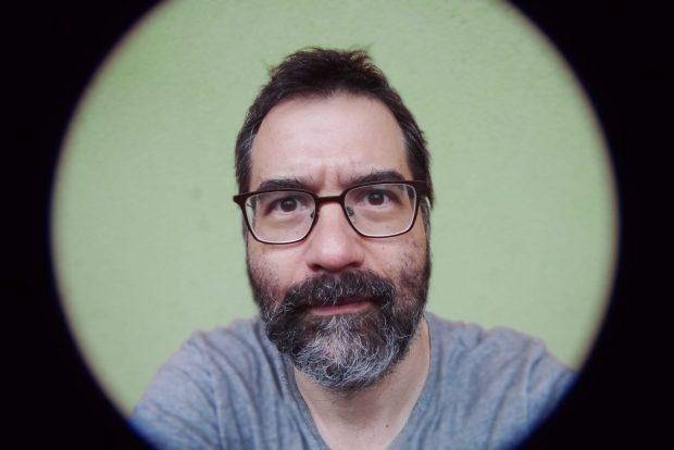 Greg Pak mugshot - fisheye lens.