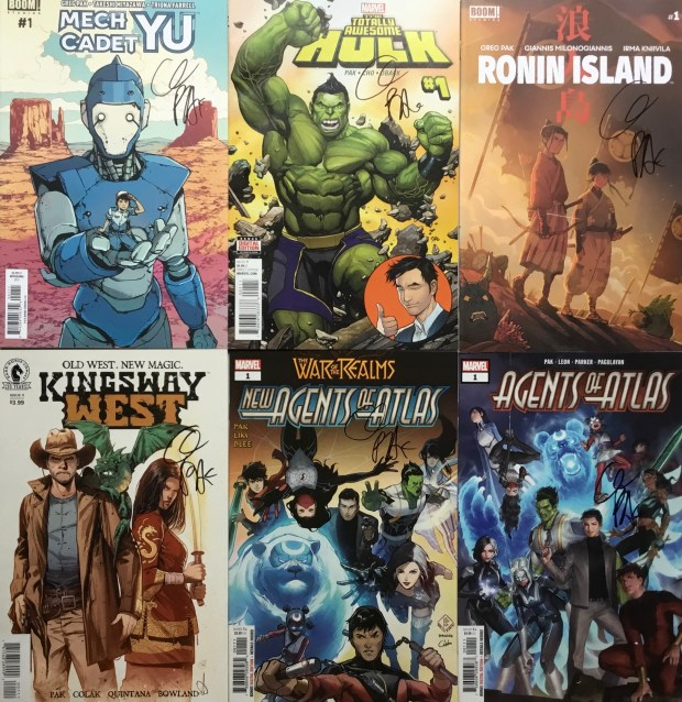 Signed comics donated by Greg Pak to the Kidlit Against Anti-Asian Racism Auction Fundraiser