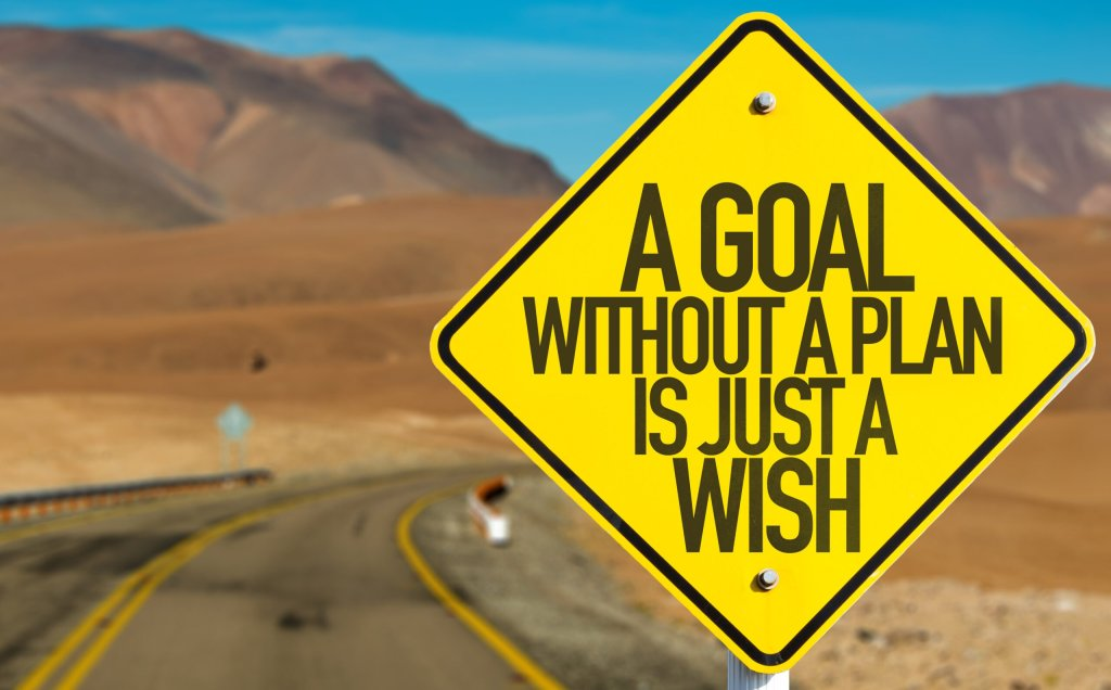 Road sign says a goal without a plan is just a wish