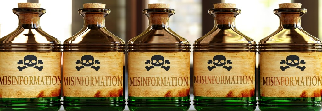 Jars of poison labeled as Misinformation
