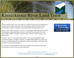 Kinnickinnic River Land Trust Web site screenshot