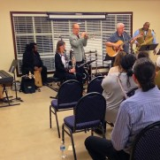Greg performed at a tribute concert celebrating the life of longtime Music and Arts manager Darrell Cook in December, 2015. (left to right; Caroline Cottrell, Chuck Ferrell, Lori Fowser, Greg Small, John Keczmerski, Greg Thompkins, Dave Gorrie)