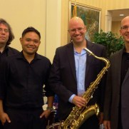 In the fall of 2016, Greg performed with Jazz One before a capacity audience at the Weinberg Village in Owings Mills. (left to right; Phil Ravita [bass], Nucleo Vega [drums], Tim Powell [sax], Greg Small [piano]