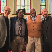 Greg returned to Ashland Presbyterian Church to play piano in a service incorporating jazz standards with traditional music. (left to right; Greg Small [piano], Chuck Ferrell [drums], Greg Thompkins [sax], Jeff Reed [bass])