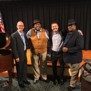 The Baltimore Jazz Consortium performed at Edenwald Retirement Community's concert series in the spring of 2019, performing music from the Great American Songbook. (left to right; Greg Small (piano), Greg Thompkins (sax), Shawn Simon (bass), Chuck Ferrell (drums)