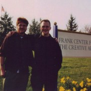 Greg and longtime friend Adam Jones, after Greg's senior trumpet recital in 2001 at Shepherd University.