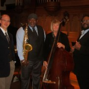 Greg performed with a jazz quartet at Towson Presbyterian Church for a Gospel Sunday service in 2014. (left to right; Greg Small [piano], Greg Thompkins [sax], Cyndy Elliott [bass], Chuck Ferrell [drums])
