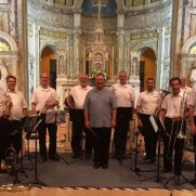In 2014, Greg joined a superb brass ensemble led by Jari Villanueva to perform in a concert at Our Lady of the Angles Chapel. (left to right; Frank Gorecki, Jeff Stockham, Paul DeLuca, Greg Small, Ron Friedman, Jari Villanueva, J.G. Miller, Chris Sarangoulis, Bernard Robier, Greg Heron, Chris Convery, Ken Serfass)