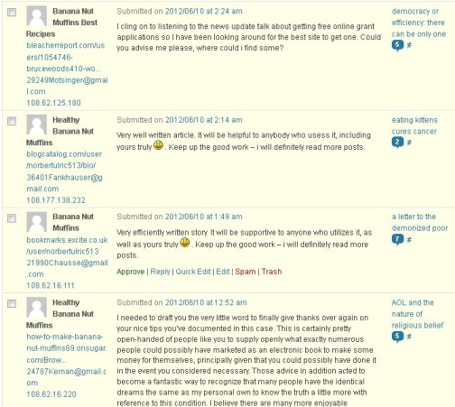 More banana nut muffin spam comments