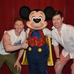 Greg Stevens with Mickey Mouse at Disney World.