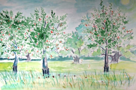 Cherry Trees (Watercolor)