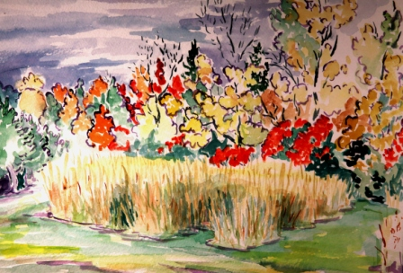 Hayfield and Foliage 2 (Watercolor)