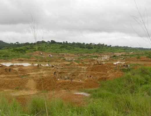 Artisanal diamond fields in Kono, Sierra Leone.
