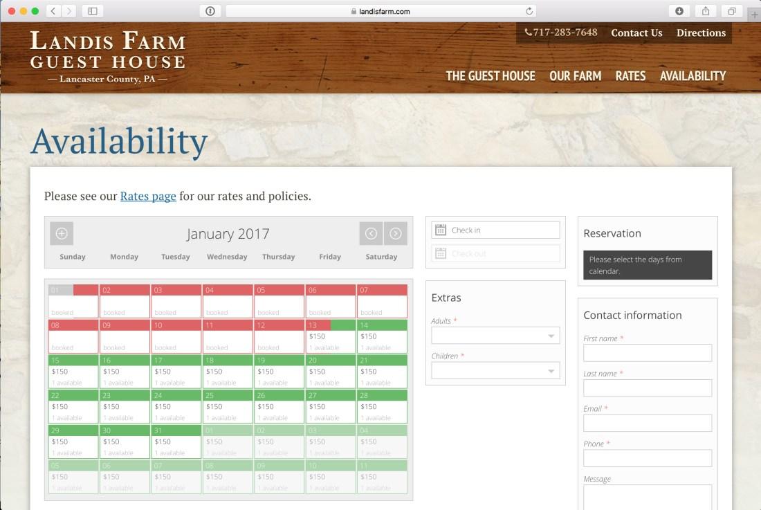 Landis Farm Reservation Calendar