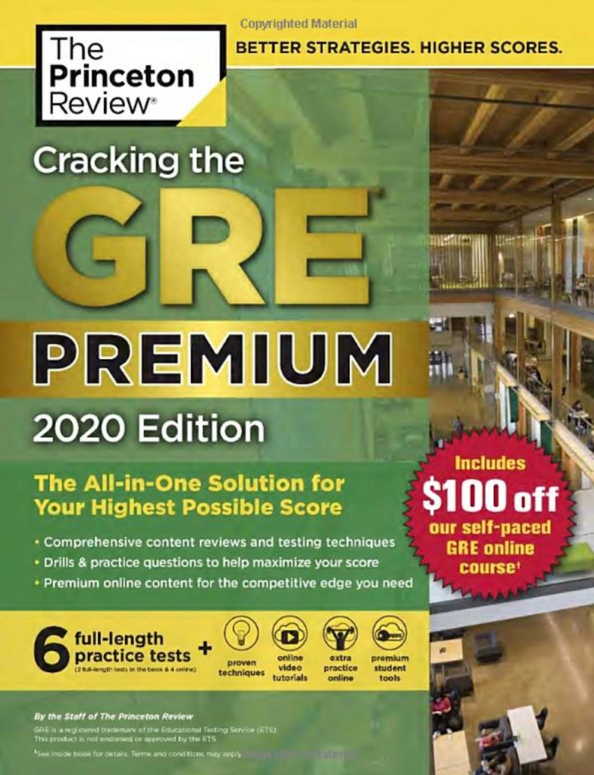 Best Gre Prep Book 2020.Cracking The Gre Premium Edition With 6 Practice Tests 2020