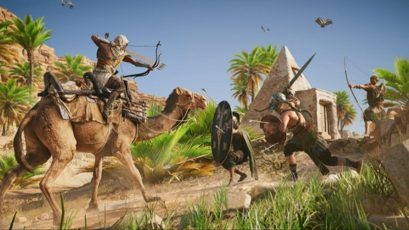 Bayek atacando guardias