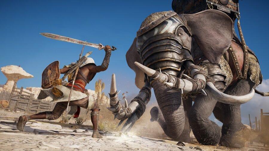 Bayek enfrentándose a un elefante de guerra