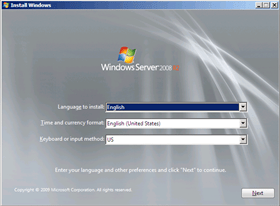 Instalación de Windows Server 2008 R2 with Service Pack 1 (2/6)