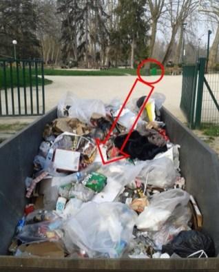 la benne à ordures parc Paul Mistral